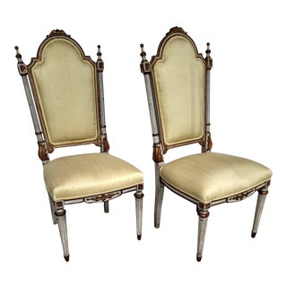 Hand-Carved Italian Styled Gilt Side Chair, a Pair- Vintage For Sale