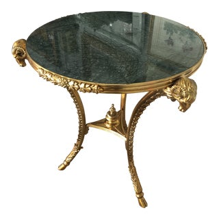 Bronze Dore and Green Marble Round Side Table For Sale