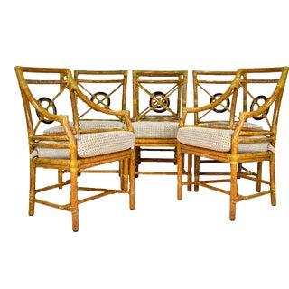 Vintage McGuire Target Back Rattan Dining Chairs - Set of Six For Sale
