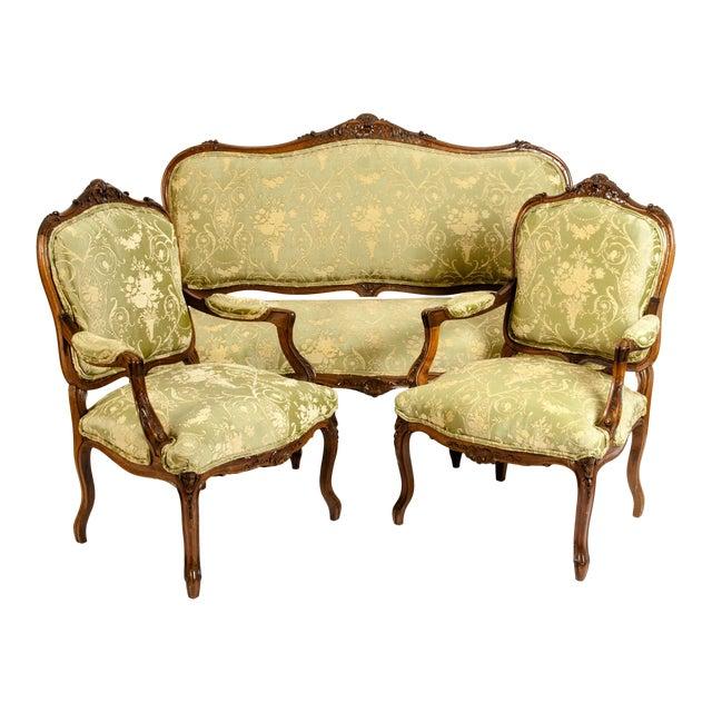 Mid-19th Century Mahogany Wood Frame Salon Suite - 3 Pc. Set For Sale