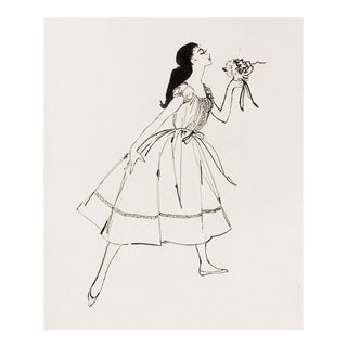 1955 Fashion Drawing On Paper