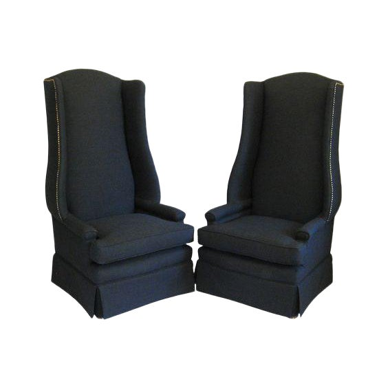 Monumental Upholstered Wing Back Chairs- A Pair For Sale