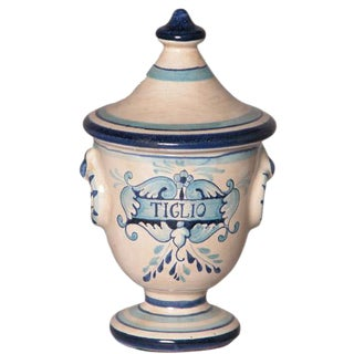 Italian Hand Painted Ceramic Tiglio Lime Urn For Sale