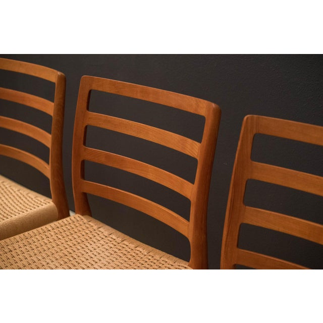Vintage Mid Century Moller Model 85 Danish Teak Dining Chairs- Set of 8 For Sale - Image 10 of 12