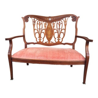 Antique Edwardian Art Nouveau Settee For Sale