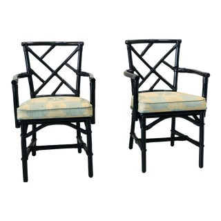 Hollywood Regency Chippendale Arm Chairs Black Lacquered Bamboo Ficks Reed - a Pair For Sale