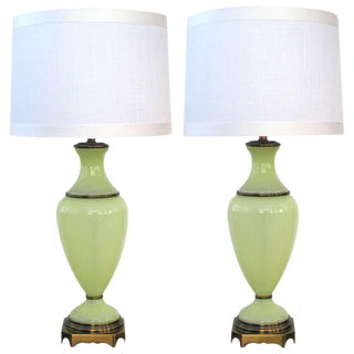 Chartreuse Opaline Glass Lamps by Paul Hanson - a Pair For Sale