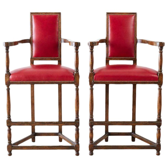 Pair of Dennis Leen Walnut and Leather Bar Stools For Sale