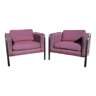 1970s Mid-Century Tubular Chrome Arm Chairs - a Pair For Sale