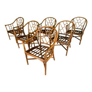 Faux Bamboo Chinoiserie Rattan Arm Chairs, Set of 6 For Sale