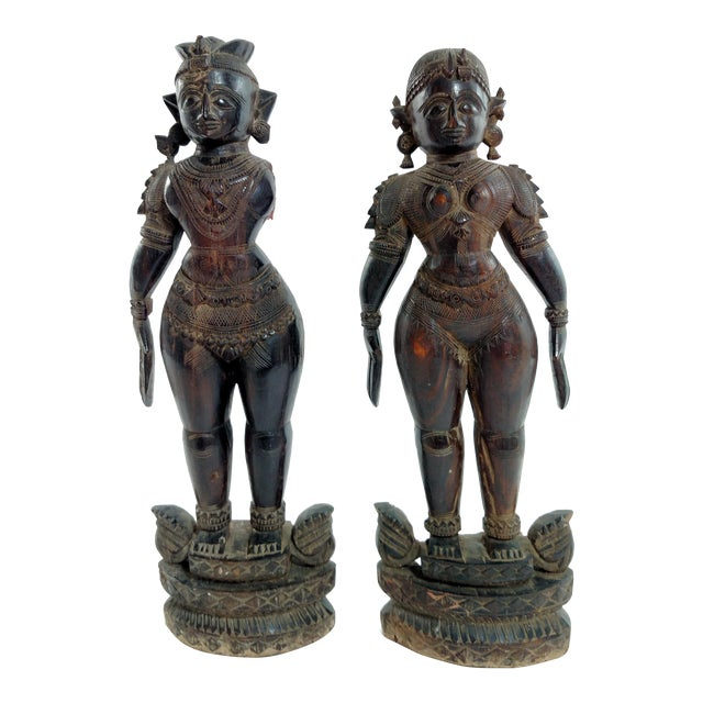 Antique Carved Indian Figures - A Pair - Image 1 of 7