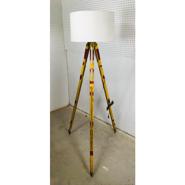 Vintage Red and Yellow Surveyors Tripod Floor Lamp with Linen Shade For Sale - Image 9 of 9