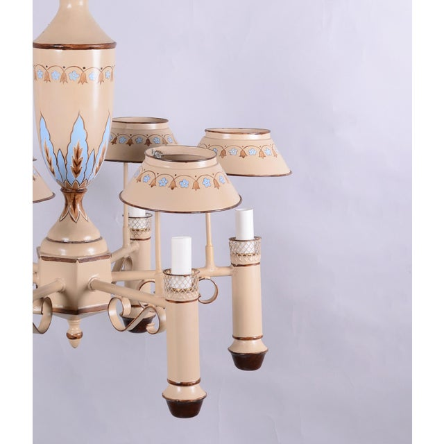 Metal Vintage Chandelier With Six Lamp Holders With Shades For Sale - Image 7 of 10