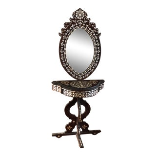 Vintage Syrian Mother-Of-Pearl Inlaid Wood Console Mirror & Table For Sale
