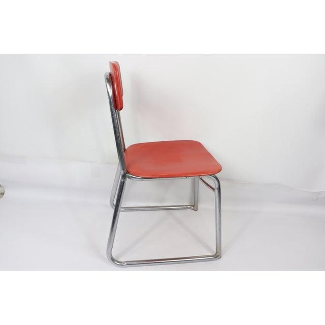 Mid Century Modern Heywood Wakefield Children\'s Red Plastic Chrome School  Chair