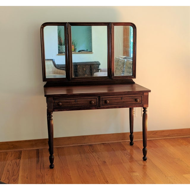 Early 20th Century Antique Mahogany Vanity & Mirror For Sale - Image 11 of 11