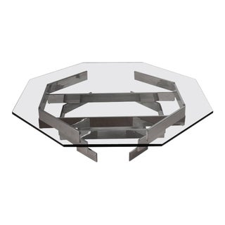 1970s Modern Chrome and Glass Octagonal Coffee Table For Sale