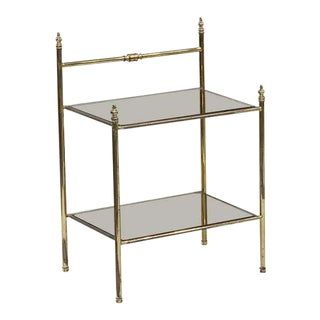 French Two-Tier Side Tables of Brass and Tinted Glass 'Priced Individually' For Sale