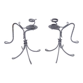 Twisted Tinned Hand Wrought Iron Pair of Vintage Candlesticks For Sale