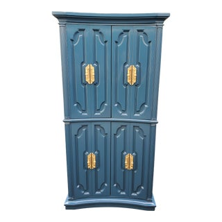Vintage Midnight Blue Armoire For Sale