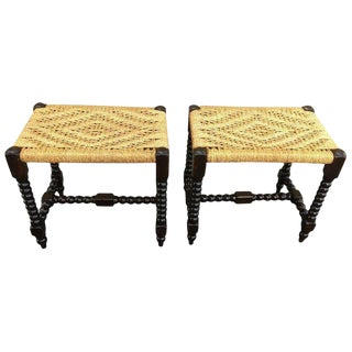 19th Century Pair of English Blackened Turned Stools With Woven Caned Top For Sale