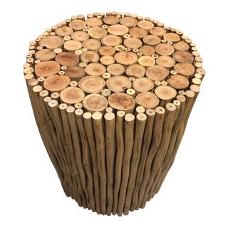 Boho Chic Style Natural Wood Stick Low Stool For Sale