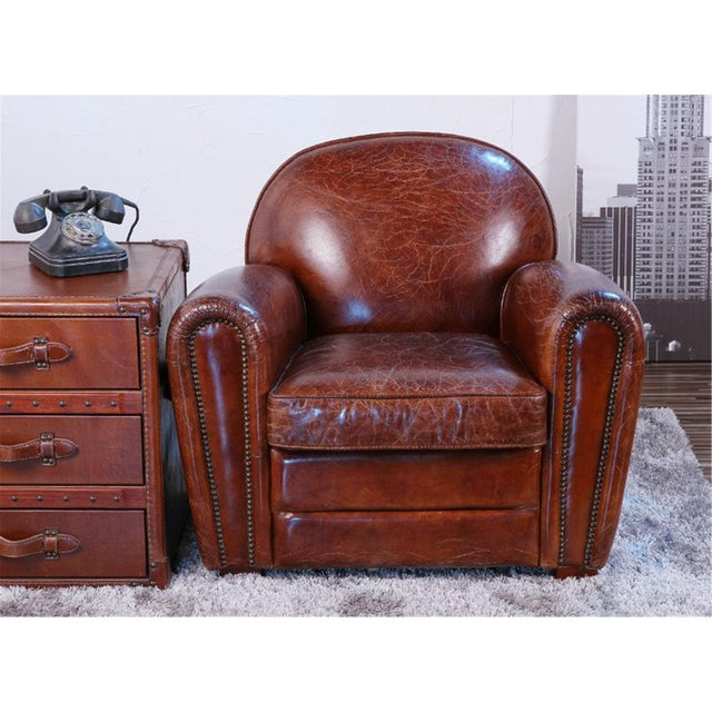 Pasargad Brown Leather Paris Club Chair For Sale - Image 4 of 7