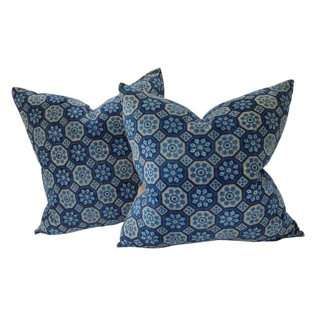Indigo English Tile Pillows - Image 1 of 5