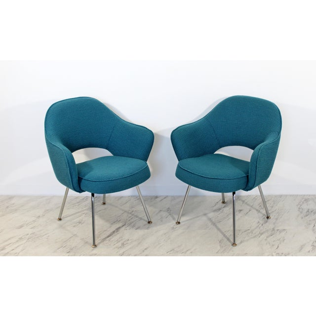 For your consideration is a sculptural pair of executive office armchairs, with a fabulous turquoise wool upholstery, by...