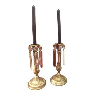 19th Century Anglo Indian Brass Candlesticks - a Pair
