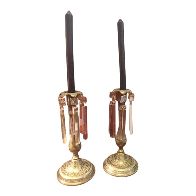 19th Century Anglo Indian Brass Candlesticks - a Pair For Sale