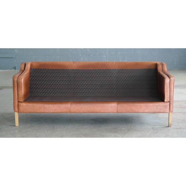 Børge Mogensen Style Sofa Model 2213 in Light Cognac Leather by Stouby Mobler - Image 7 of 10