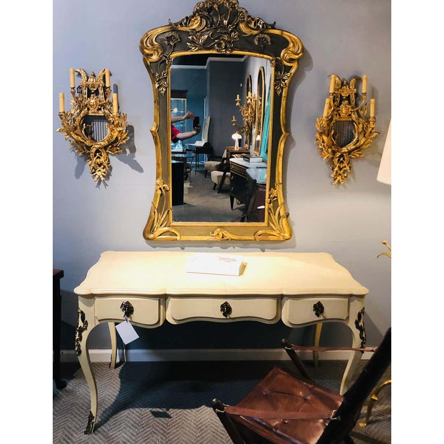 Pair of Four-Light Louis XVI Style Bird & Face Mounted Gilt Bronze Wall Sconces For Sale - Image 9 of 13