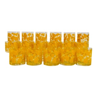 Georges Briard Yellow Leaves Glasses - Set of 17 For Sale