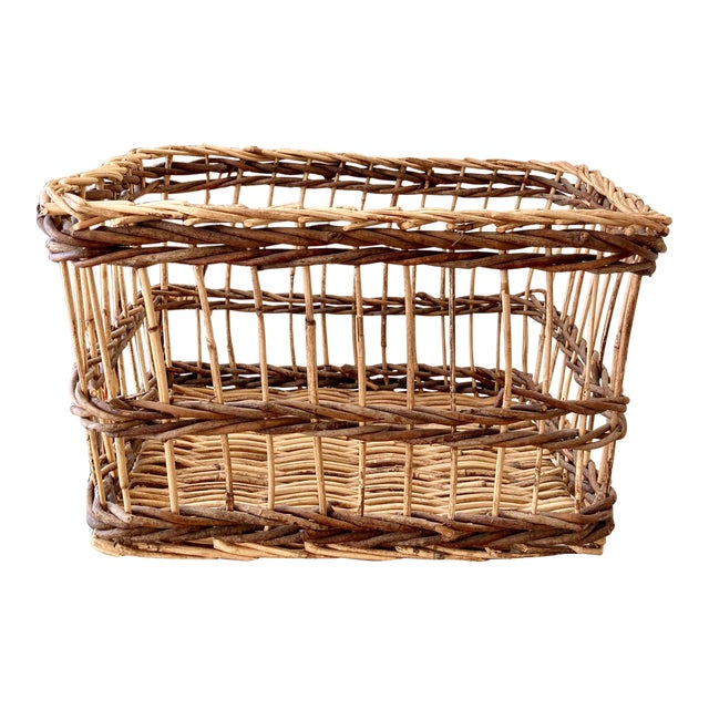 Crisscross Open Weave Handwoven Rattan & Willow Basket by Three Hands - Circa 1990 For Sale