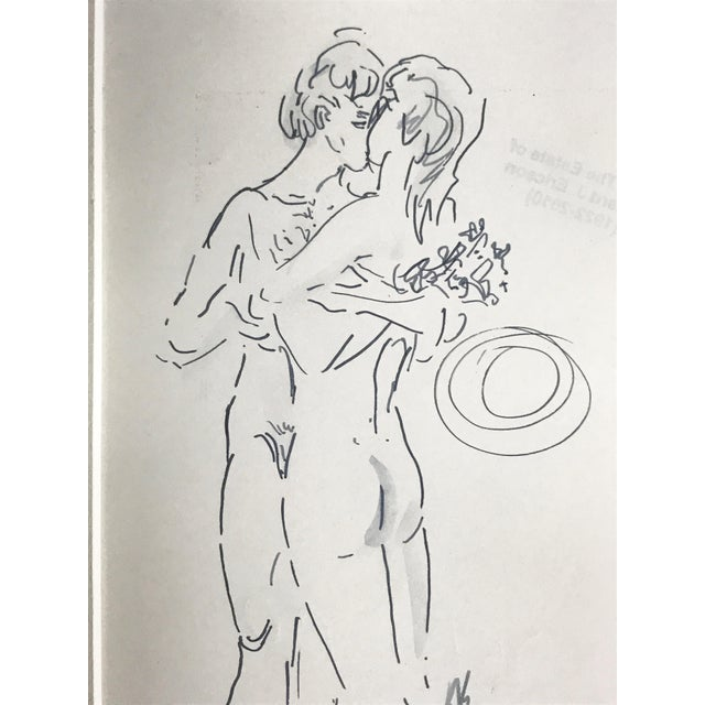 Abstract Abstract Figurative Nude Drawing of Couple by Richard Ericson For Sale - Image 3 of 6
