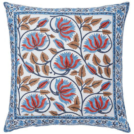 Indian Suman-Nargis Coral, Blue & Camel Reversible Pillow Cover For Sale - Image 3 of 4