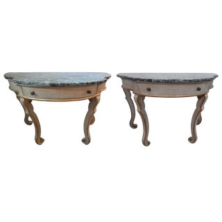 1920s Vintage Italian Painted and Gilt Wood Neoclassical Style Console Tables- A Pair For Sale