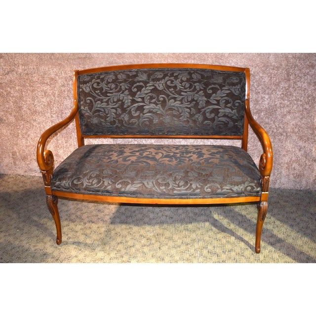 1980s Vintage Italian Provincial Style Settee For Sale - Image 13 of 13
