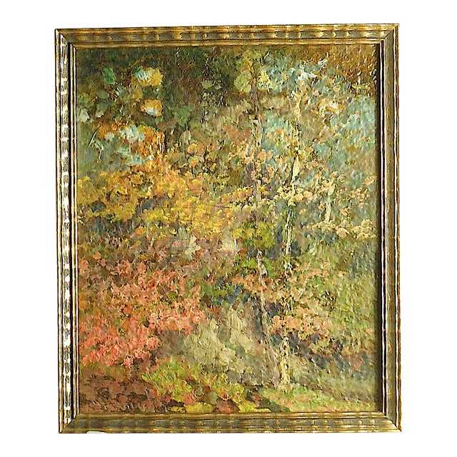 Vintage Impressionist Woodland Scene-Framed For Sale