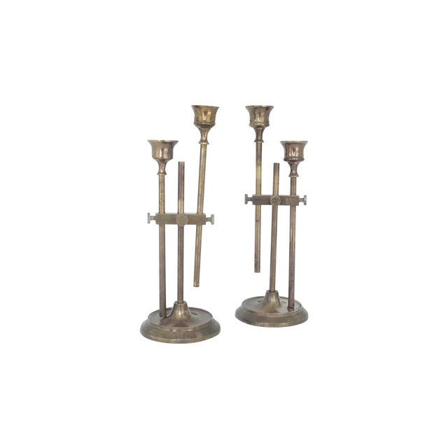 Brass Industrial Adjustable Candlesticks - Pair - Image 1 of 9