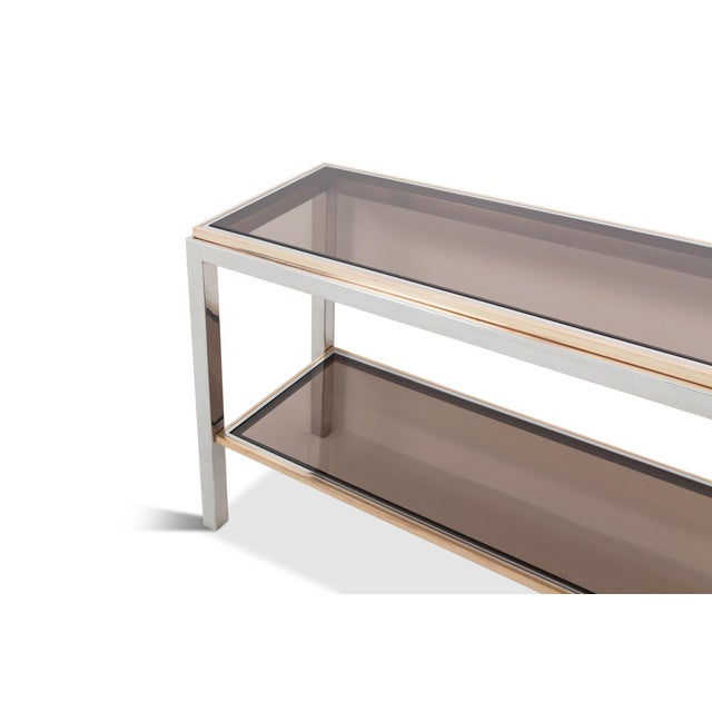 Brass Willy Rizzo Two-Tier Console Table in Chrome and Brass Linea Flaminia For Sale - Image 7 of 8