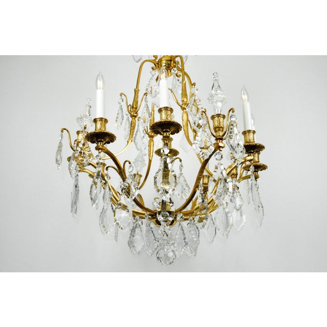 1920s 1920s Antique French Cut Crystal Eight Arm Chandelier For Sale - Image 5 of 11