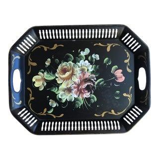 Pierced Black Floral Tole Tray