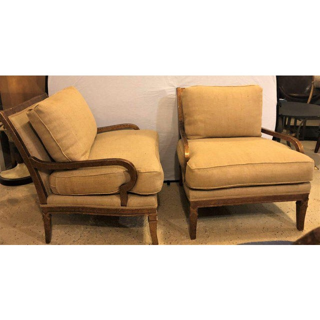 Hollywood Regency Pair of Burlap Faux Marbleized Bergère or Armchairs For Sale - Image 11 of 13