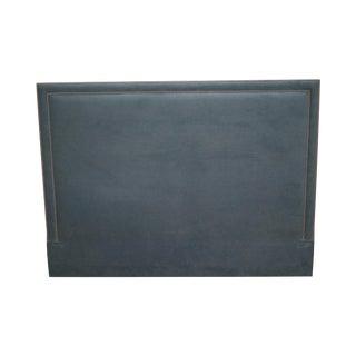 Custom Blue Upholstered King Size Headboard For Sale