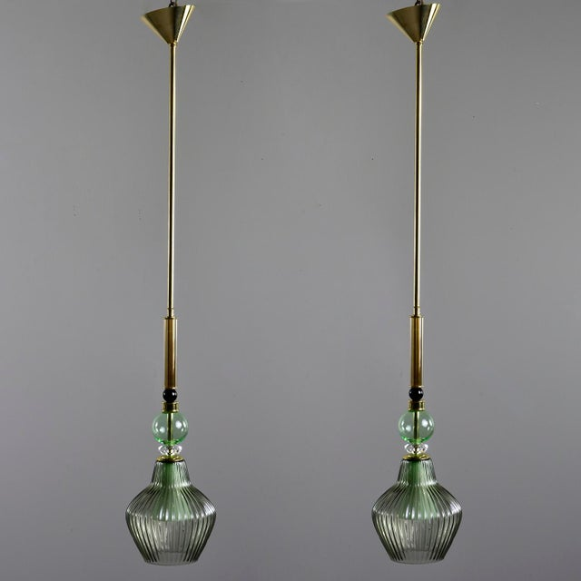 Metal Green Murano Glass Pendant Lights - a Pair For Sale - Image 7 of 7