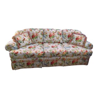 Contemporary Highland House Light Blue Floral Quilted Sofa