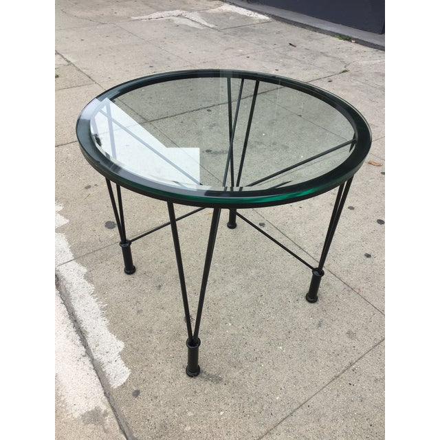 Danish Modern 1970s Post Modern Glass Top Round Metal Side Table For Sale - Image 3 of 10
