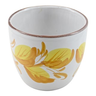 Yellow Floral Stoneware Planter